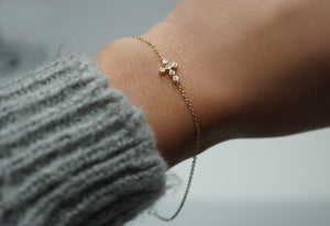 Petite Diamond Cross Bracelet (Includes 7 diamonds)