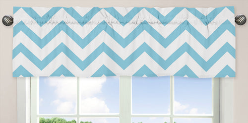 Sweet Jojo Chevron Window Valances - Turquoise and White