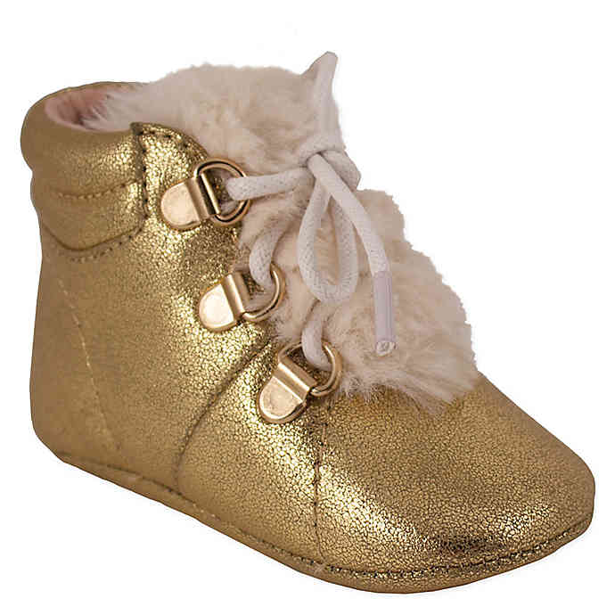 Jessica Simpson Metallic Crackle Shoe in Gold (9-12 Months)