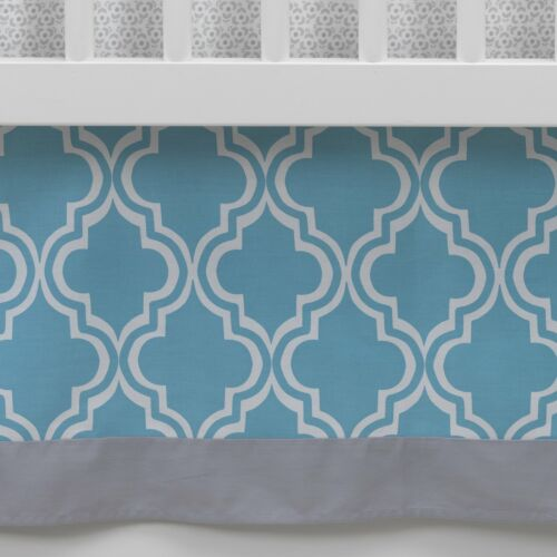 Lambs & Ivy Ryan Collection Blue/Gray/White Geometric Crib Skirt- Limited to 1 per customer