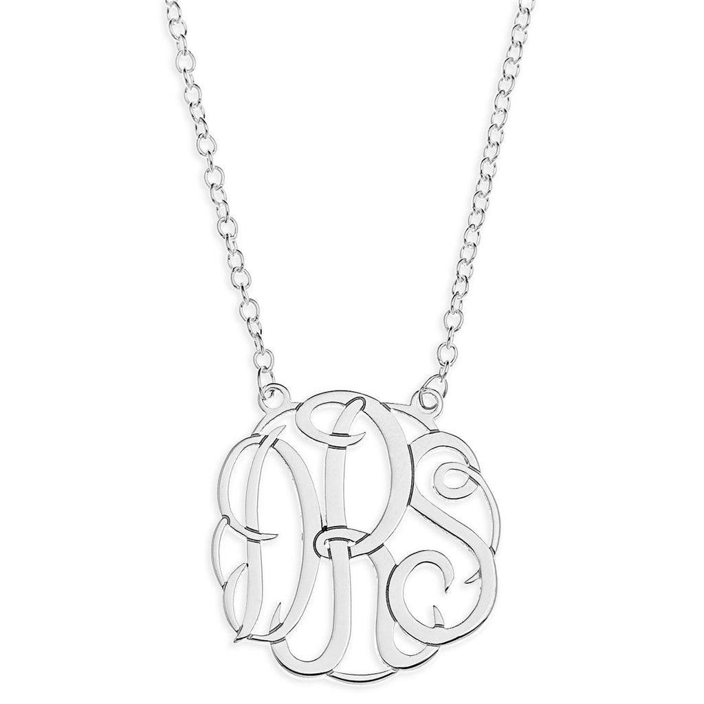 .925 Sterling Silver Monogram Necklace - 3 Letters