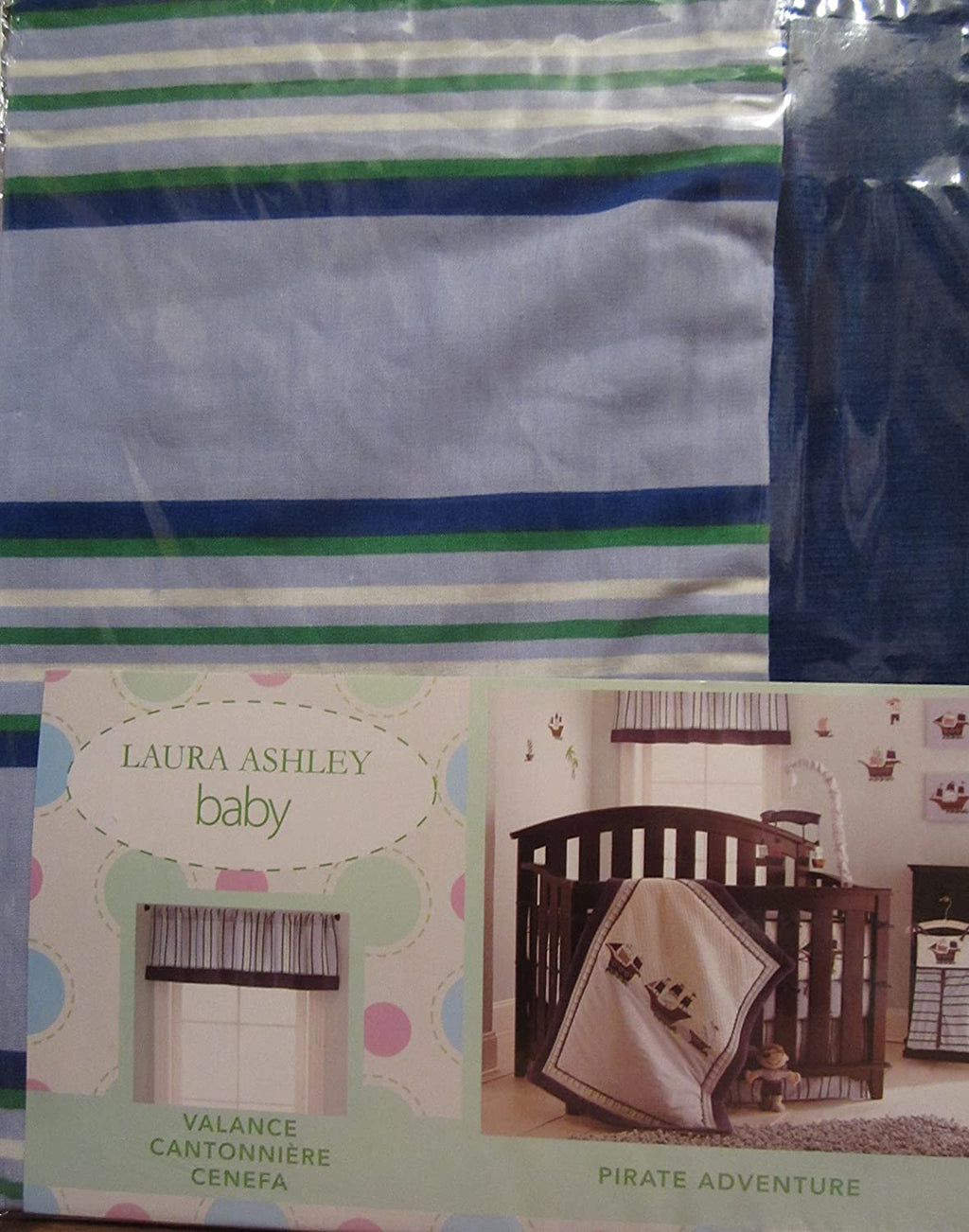 Laura Ashley® Pirate Adventure Blue Green White Striped Window Valance- Limited to 1 per customer