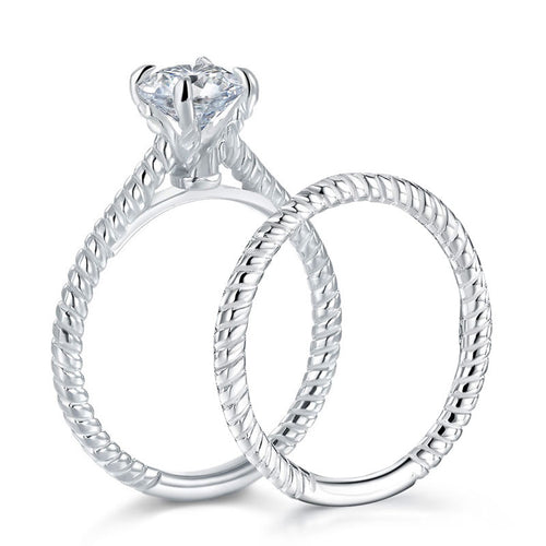 2 PC Simulated Diamond Sterling Silver Twist Pattern Solitaire Bridal Set