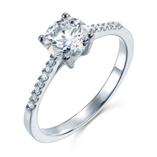 Round Cut Simulated Diamond Engagement Ring in a 4 Claw Setting in Sterling Silver