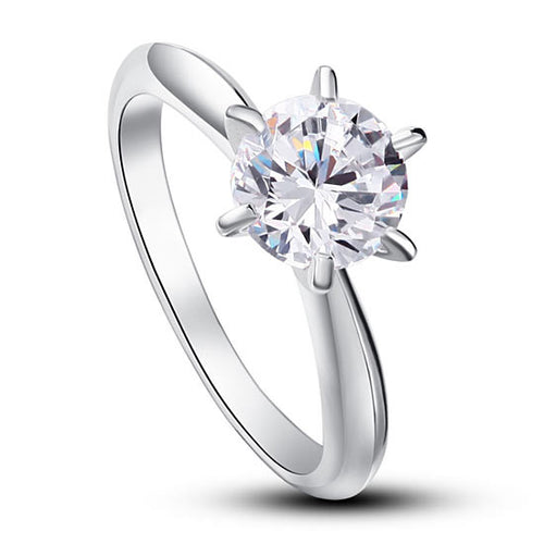 1.25 Carat Sterling Silver Simulated Diamond Solitaire Ring