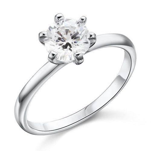 1 Carat Silver and Simulated Diamond Solitaire Ring