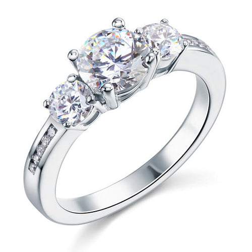 1.25 CT 3 Stone Simulated Diamond Sterling Silver Ring