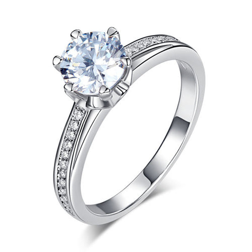 1.25 CT Sterling Silver Round Cut Simulated Diamond Engagement Ring