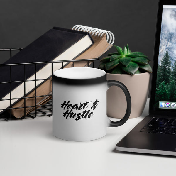 Heart & Hustle Matte Black Magic Mug