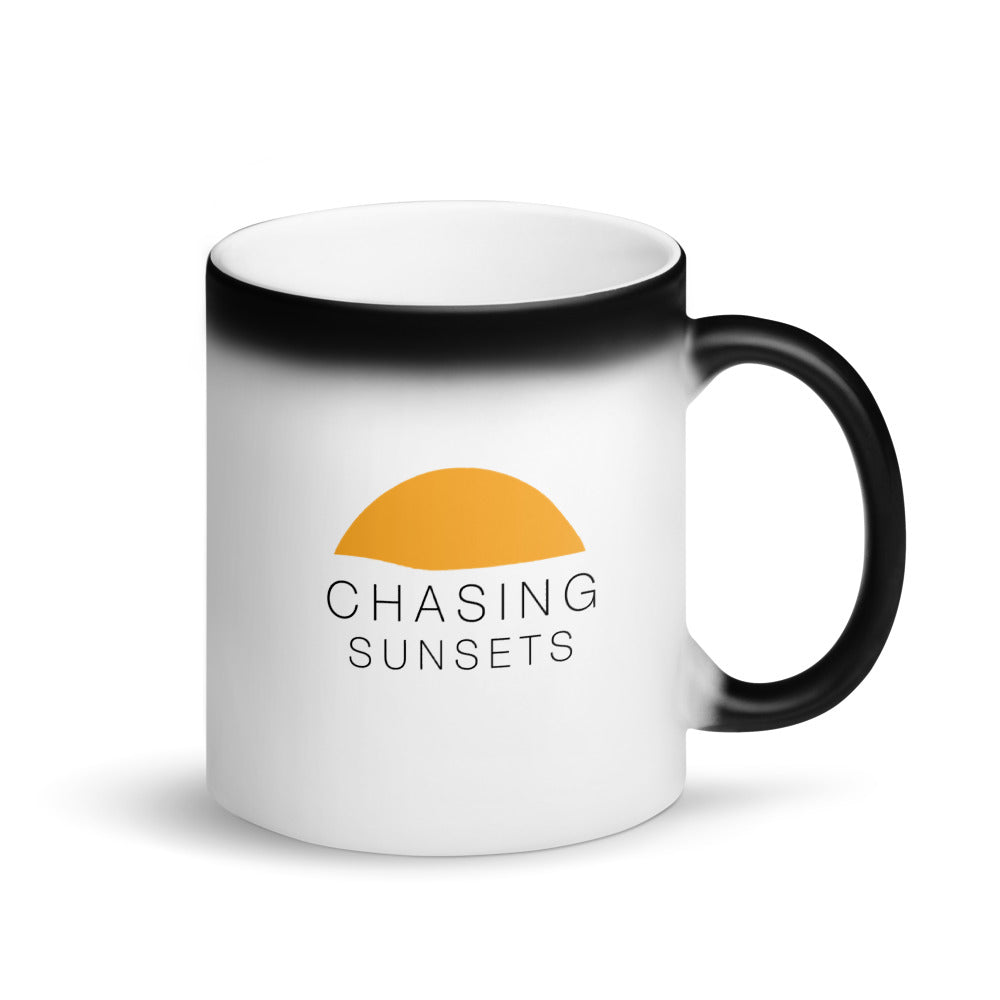Chasing Sunsets Matte Black Magic Mug