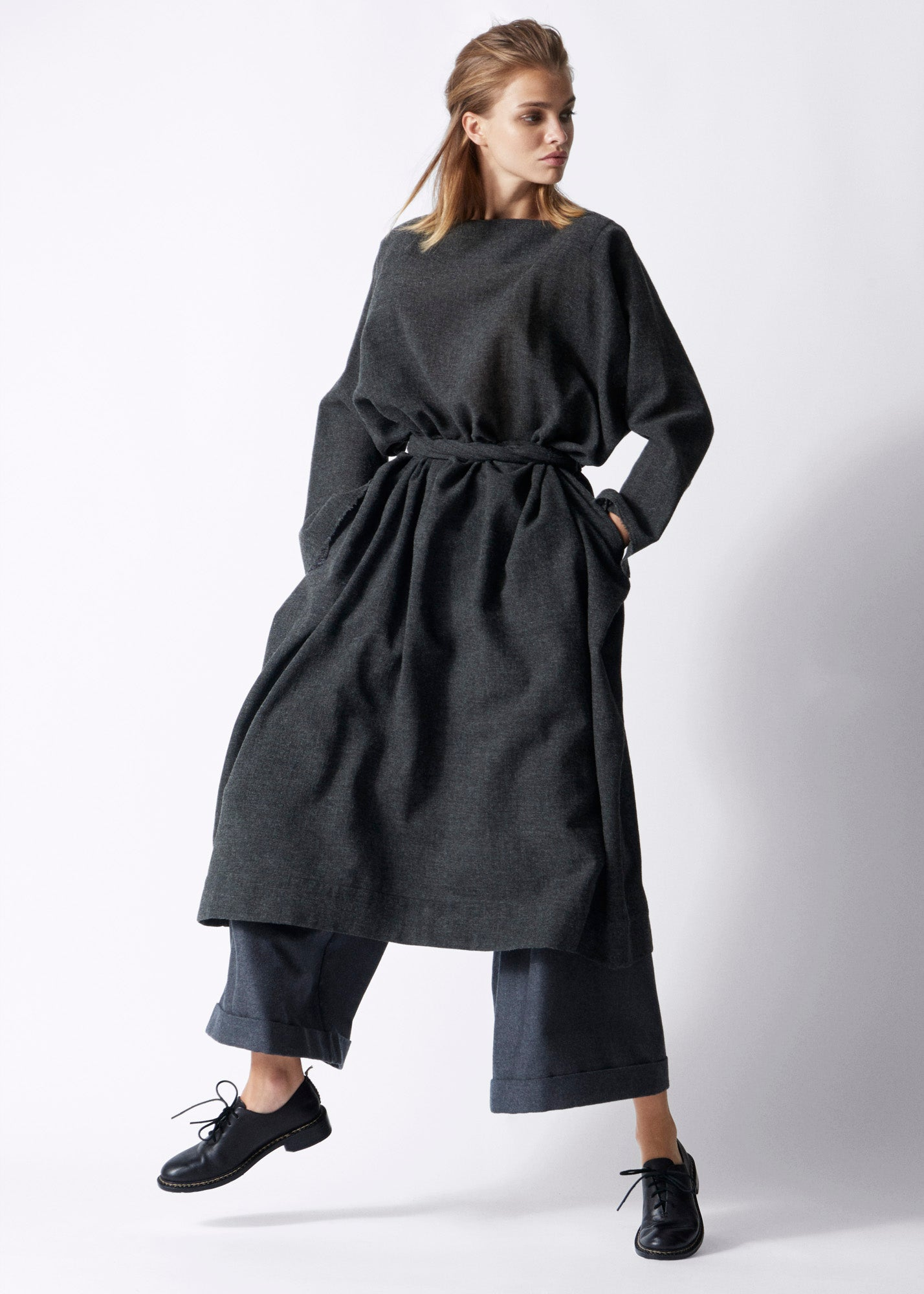 DANIELA GREGIS Luciana Dark Gray dress, Pyjama Pants, FEIT Braided Oxford Black Shoes