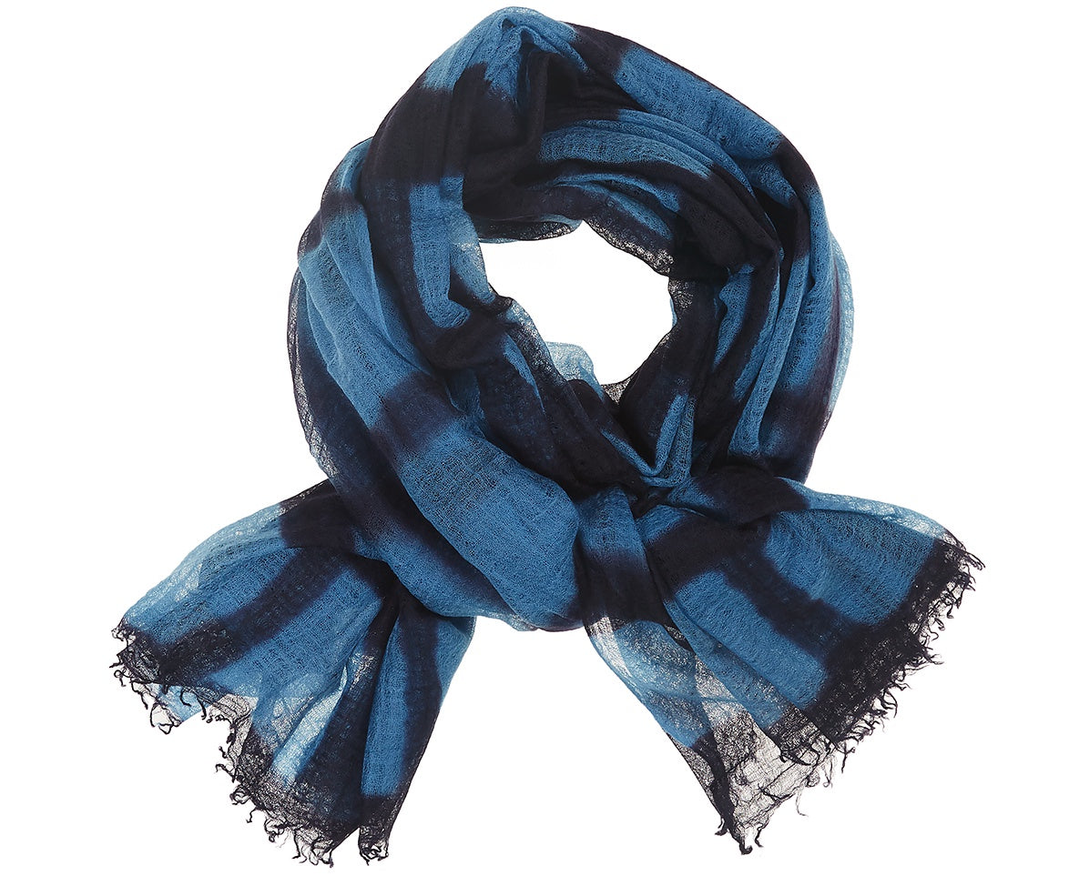 Feather Weight Cashmere Shawl Navy Blue/ Sapphire Blue Shibori