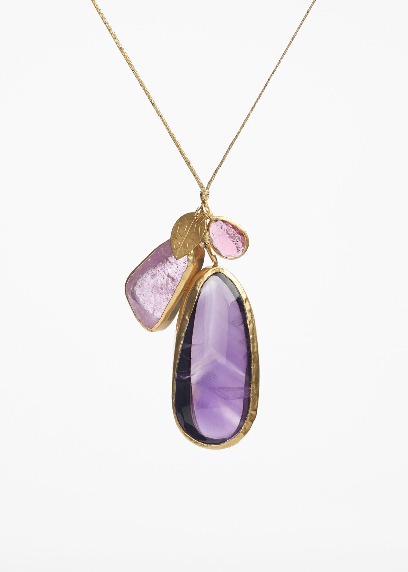 Triple Amethyst Pendant Necklace On Cord