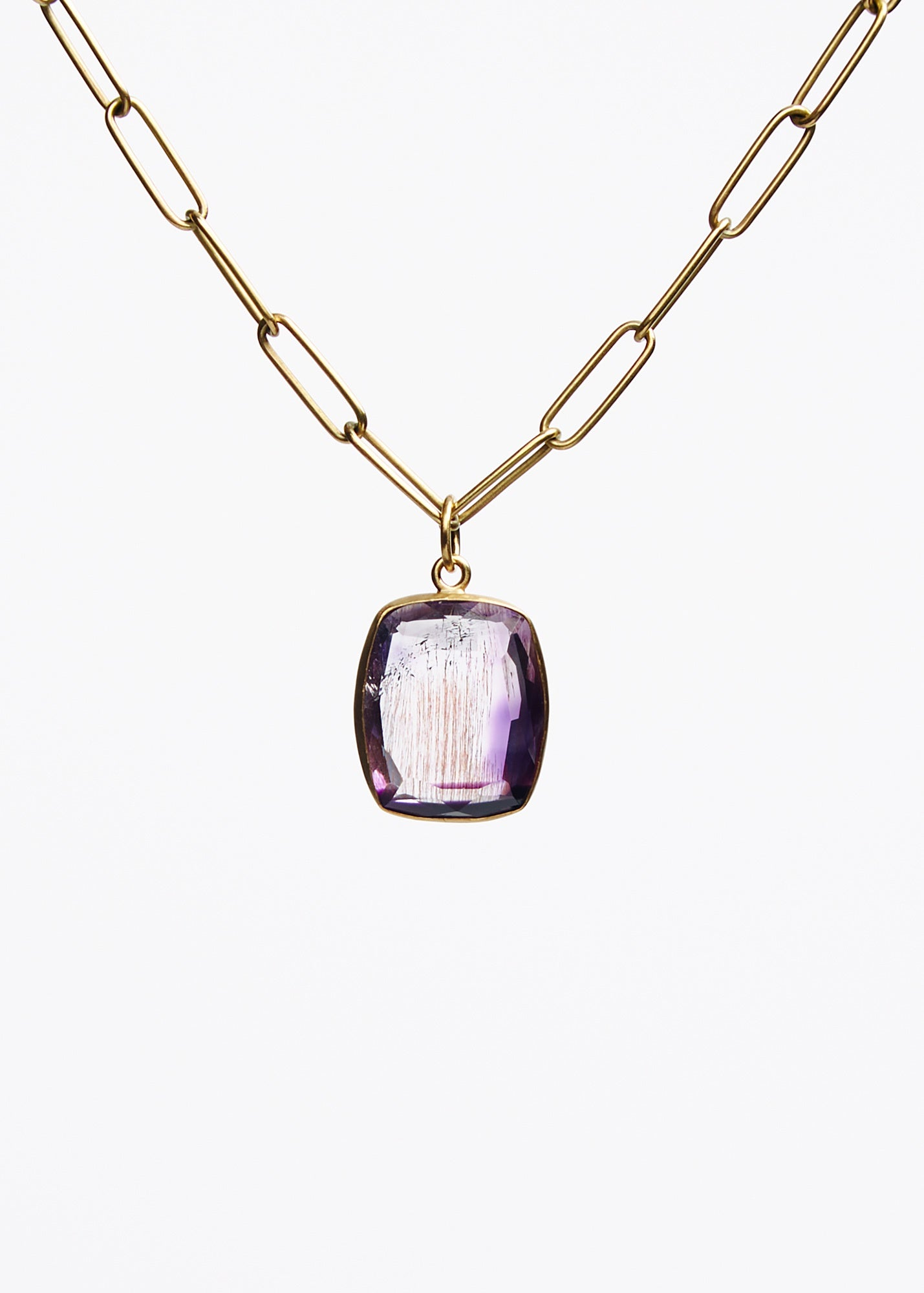 Faceted Super Seven Amethyst Pendant