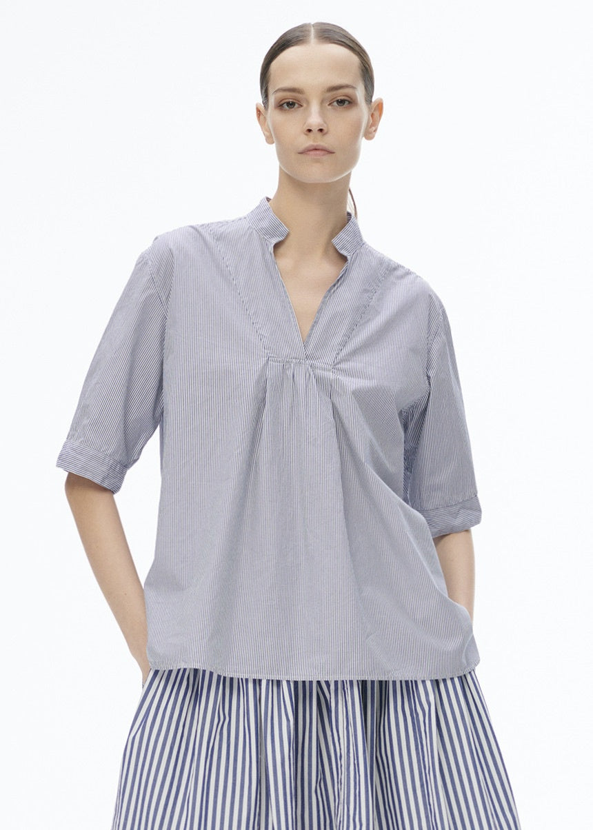 V-Neck Tyrol Shirt Blue/ White Stripe