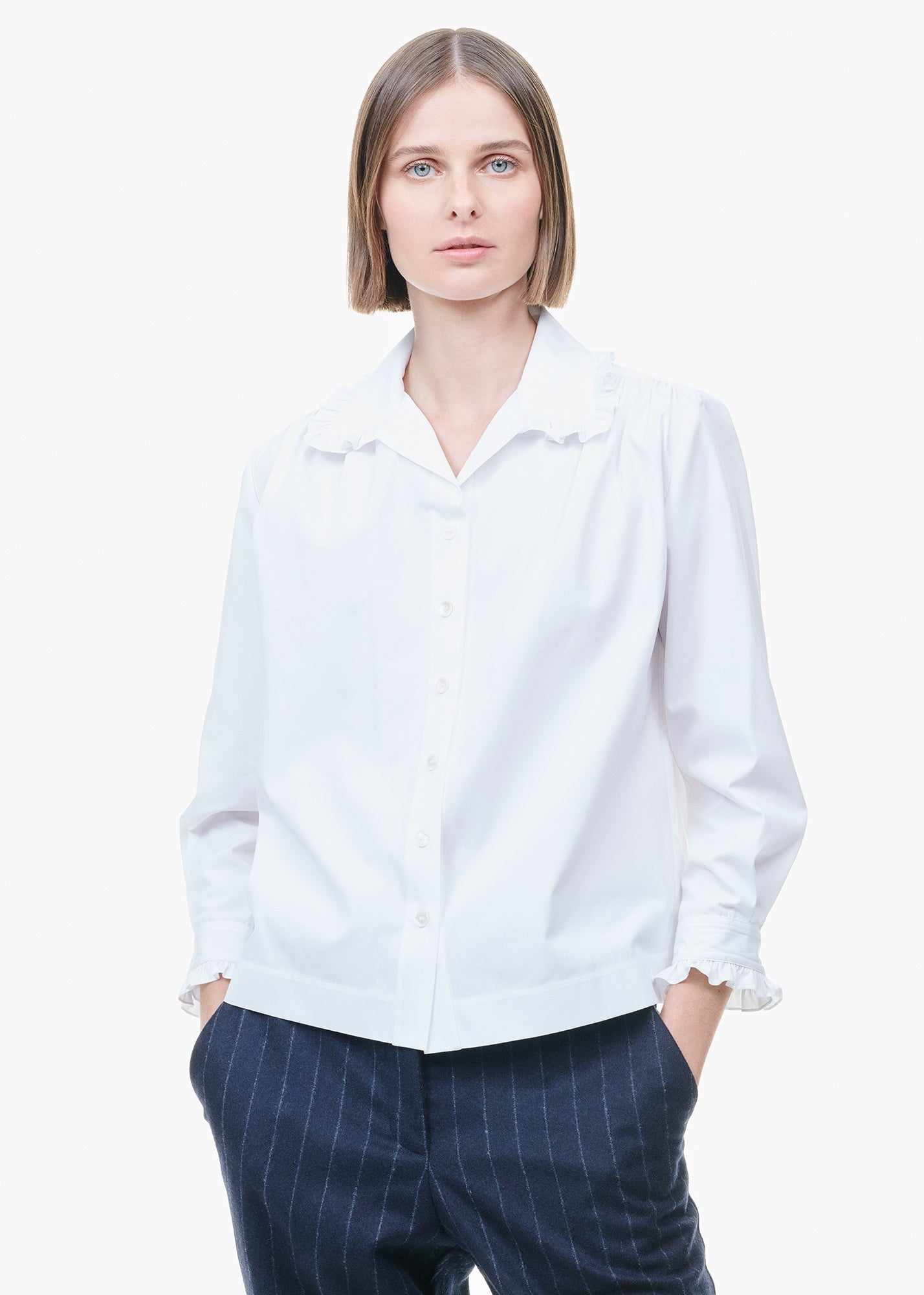 Cotton Shirt With Ruffles White
