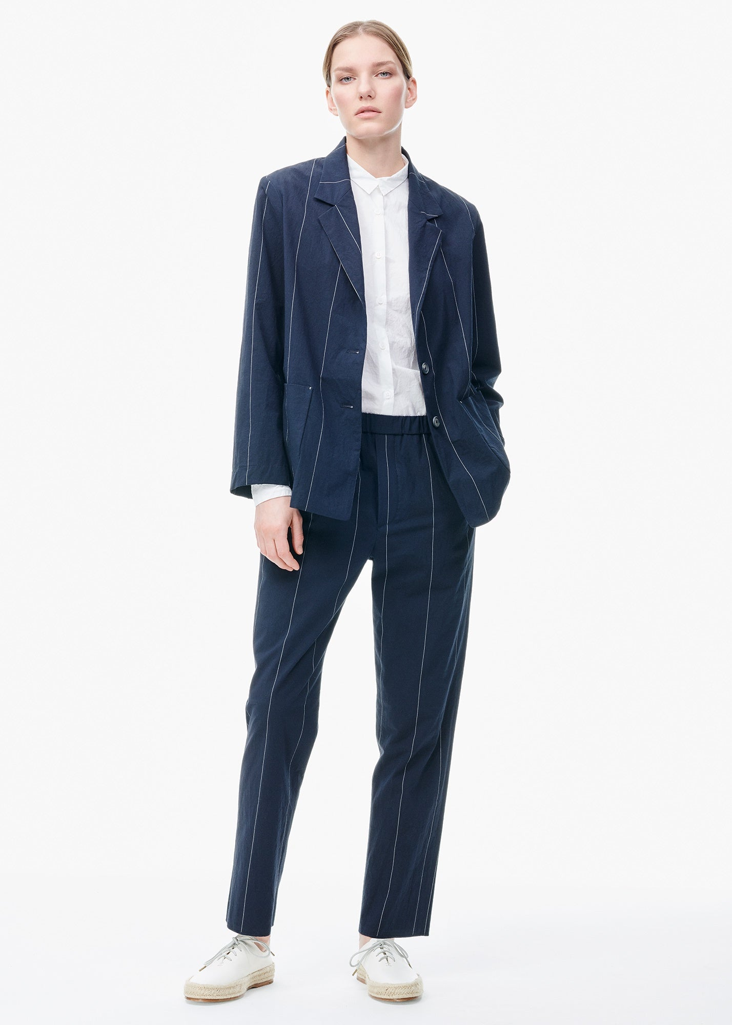 Slim Pull-On Pants Black/ Navy Stripe