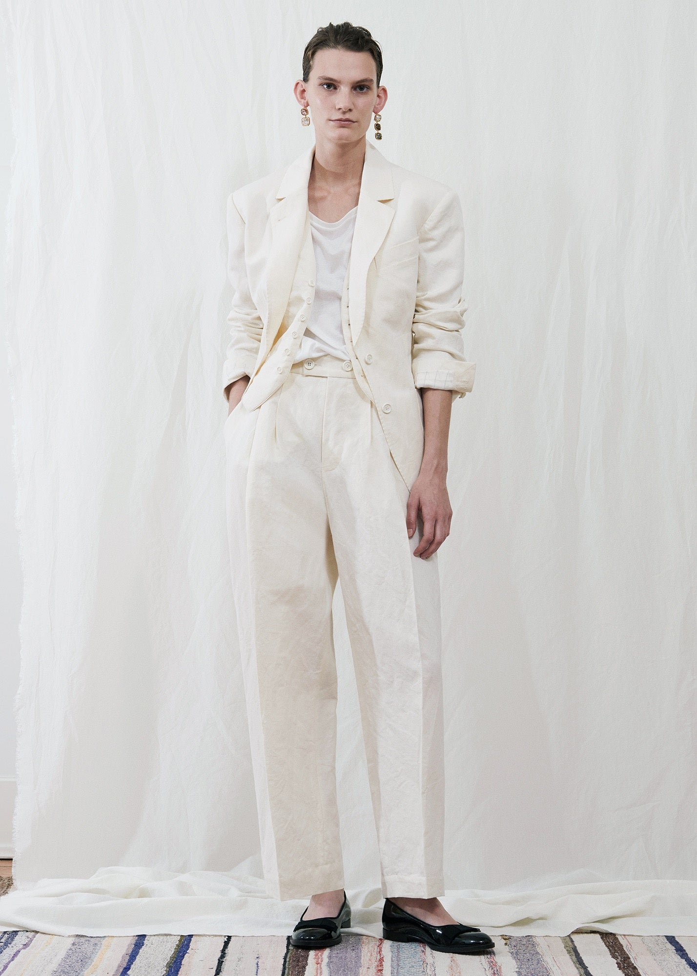 Zanini Pleated Trouser Milk