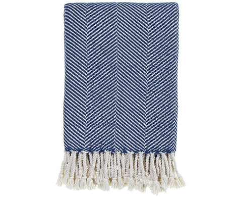 Herringbone Throw Natural/Indigo