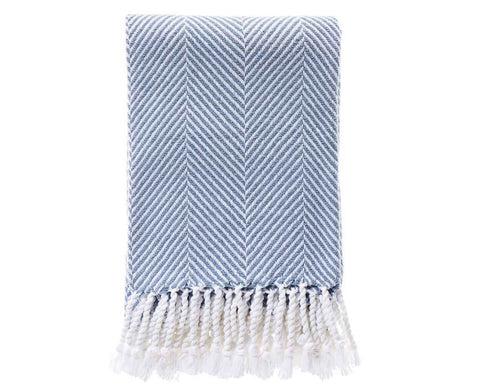 Herringbone Throw Misty Blue