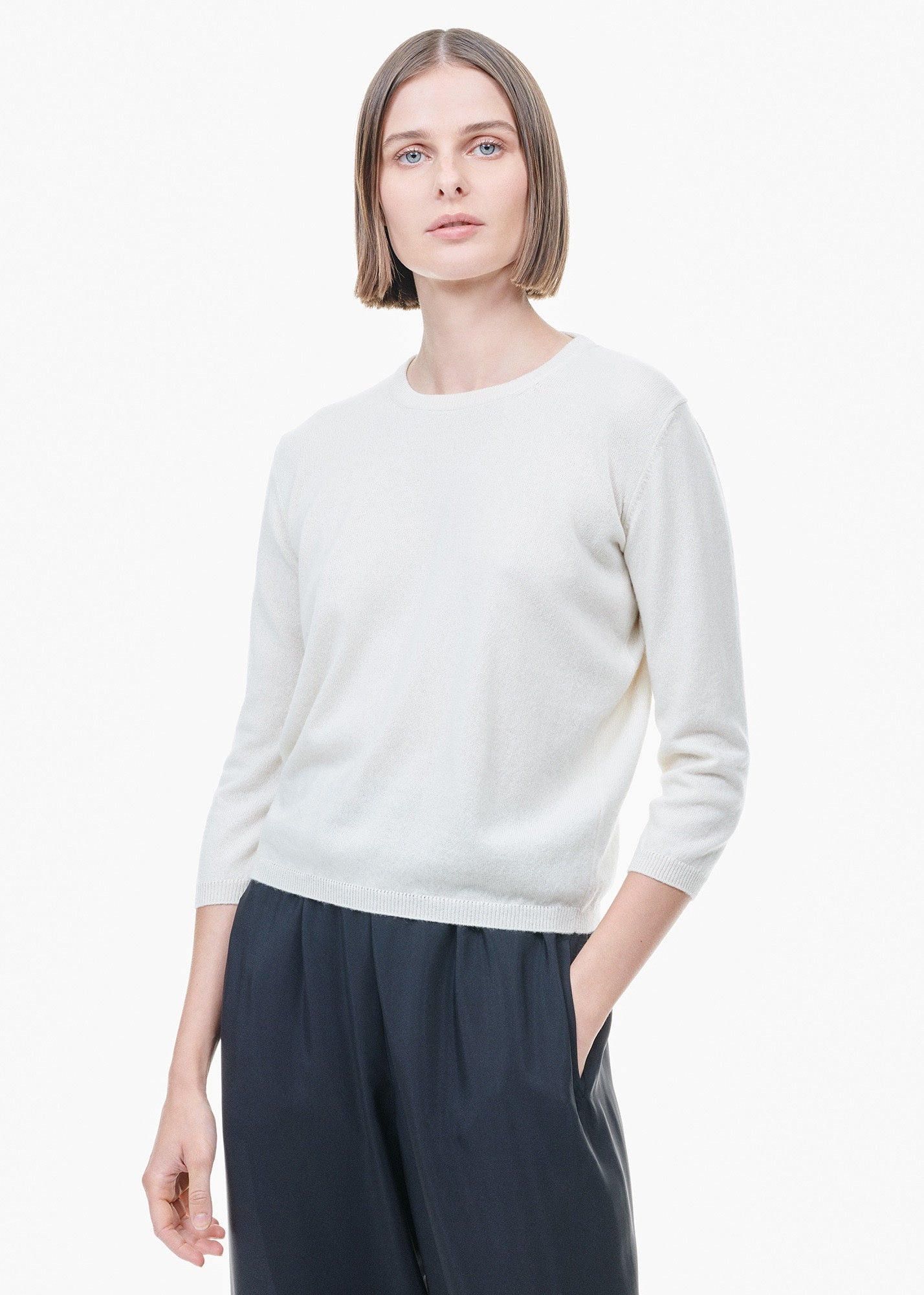 Cropped Cashmere Sweater White
