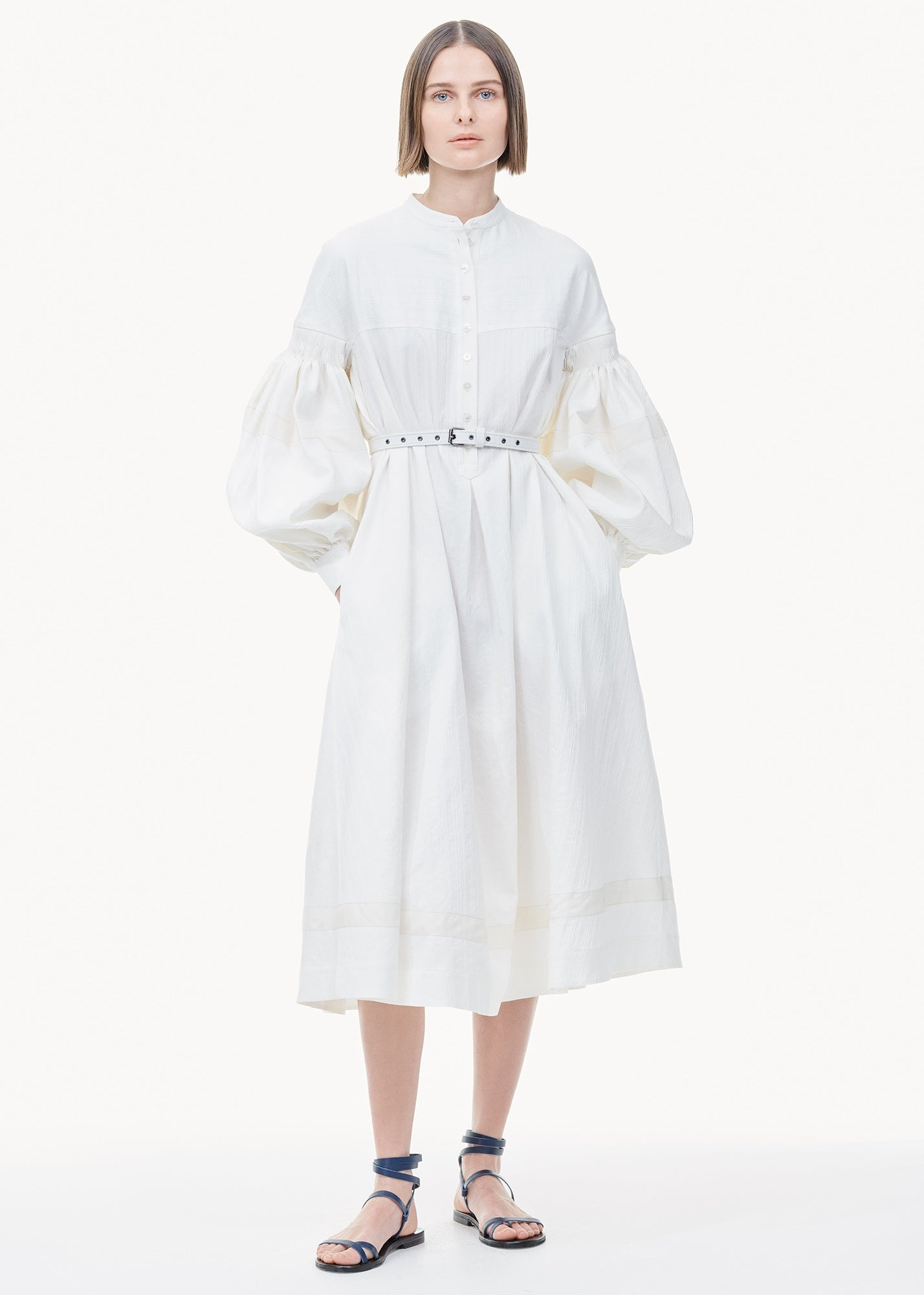 Smocked Ribbon Hem Dress Off White