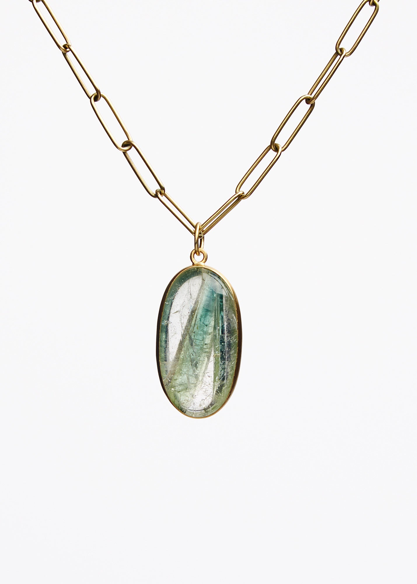 Maria Beaulieu Brazilian Green Tourmaline In Quartz Pendant