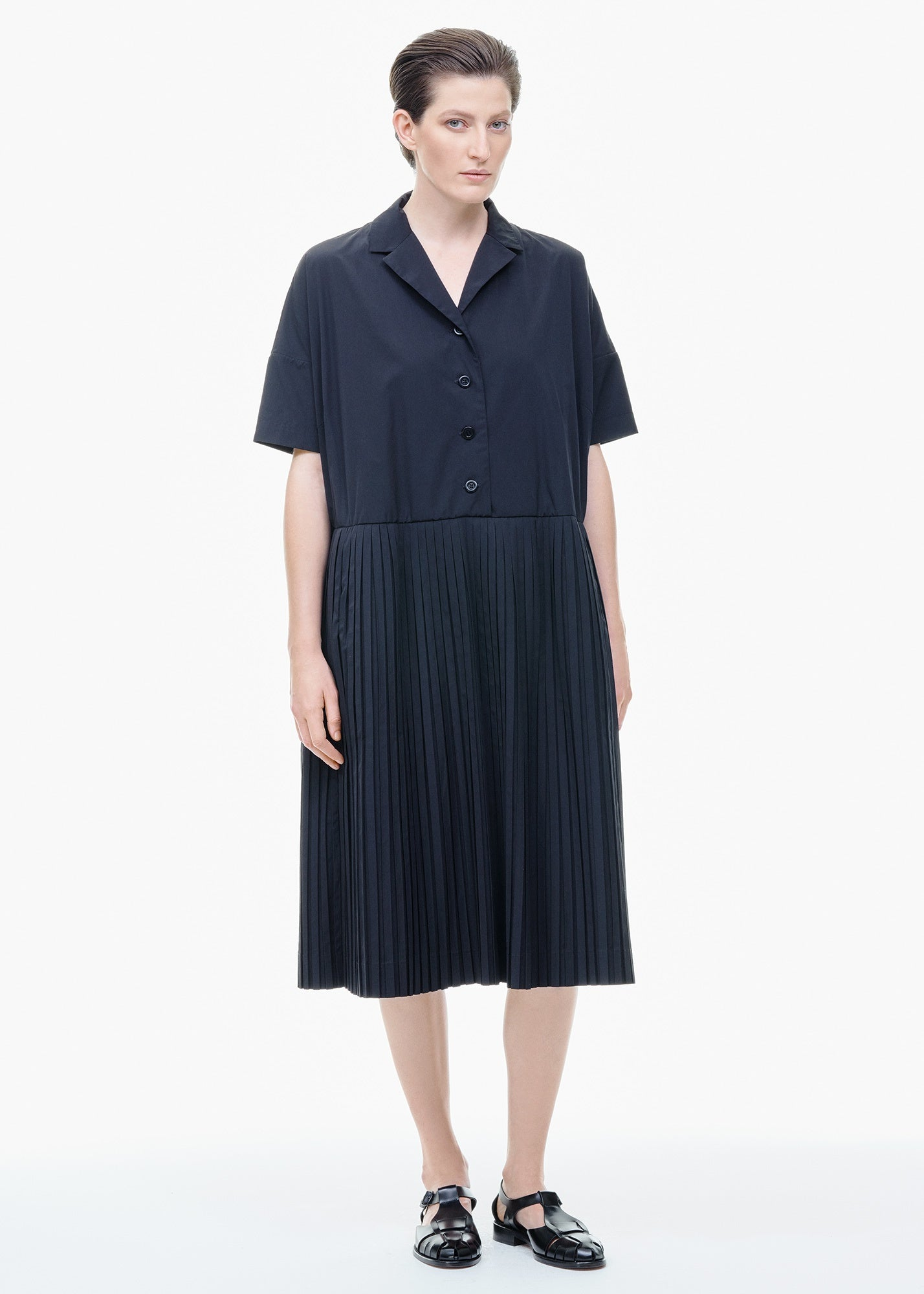 Pleated Shirtdress Black