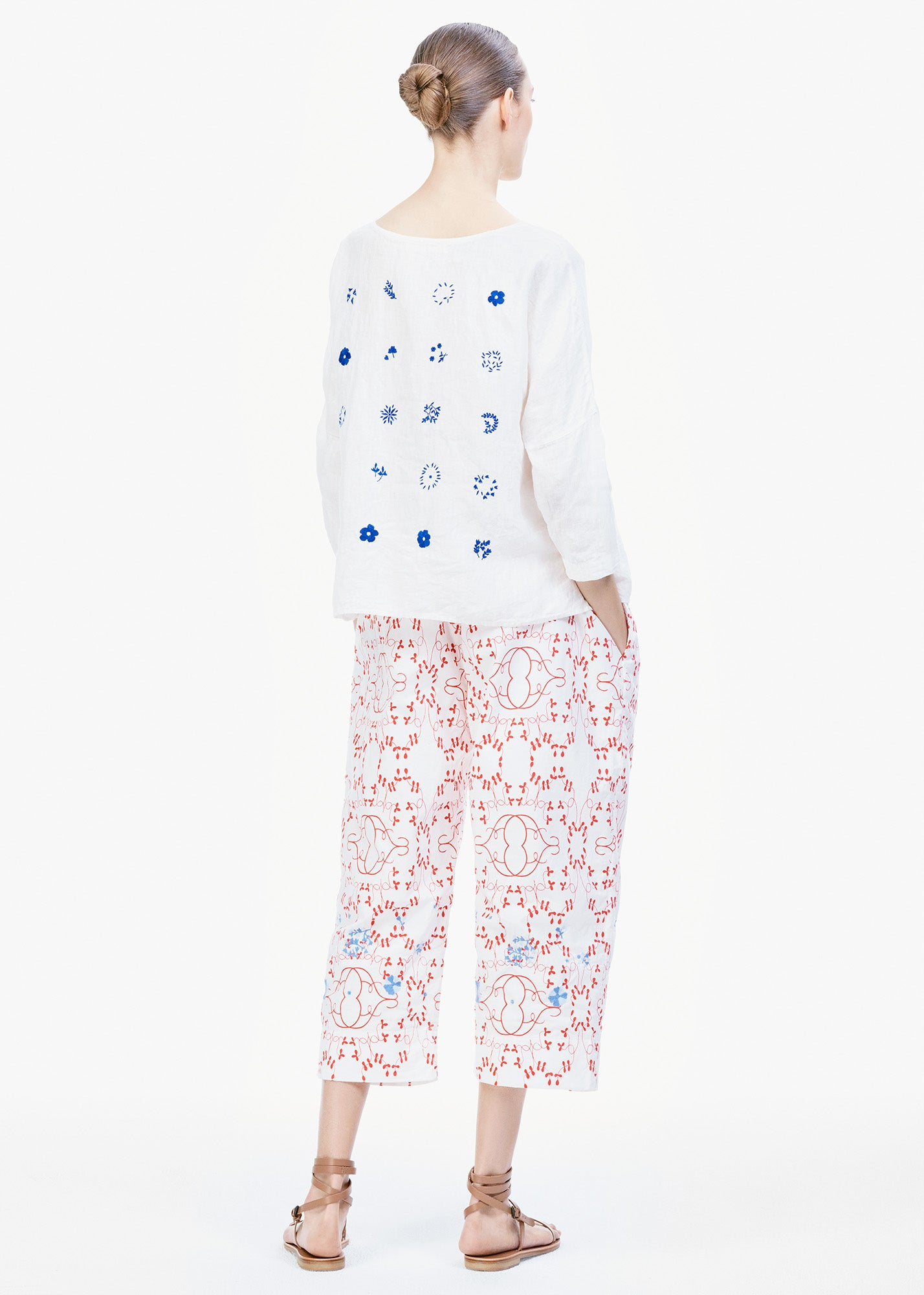 Embroidered Pants Red/ White Print