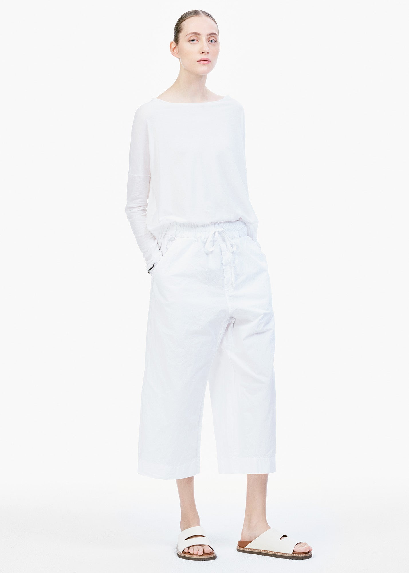 Wide Short Trousers White