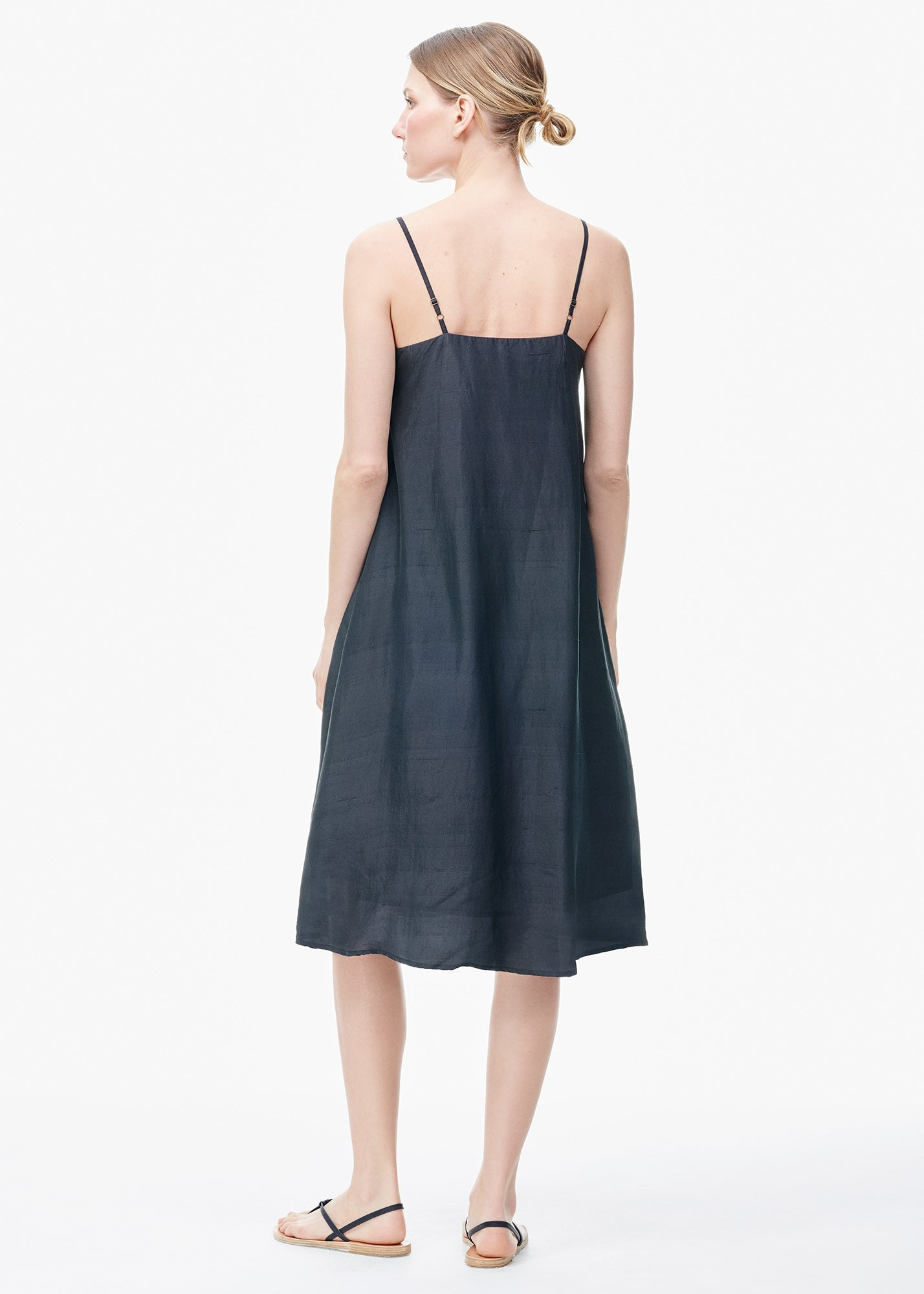 Embroidered Silk Slip Dress Black