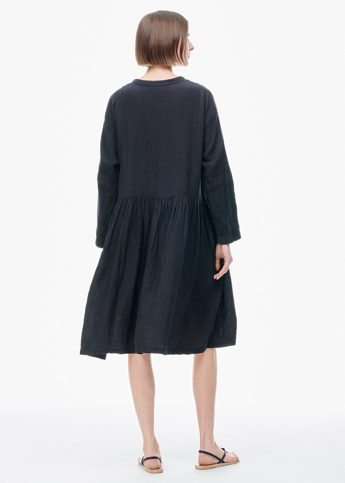 Washed Linen Dress Black
