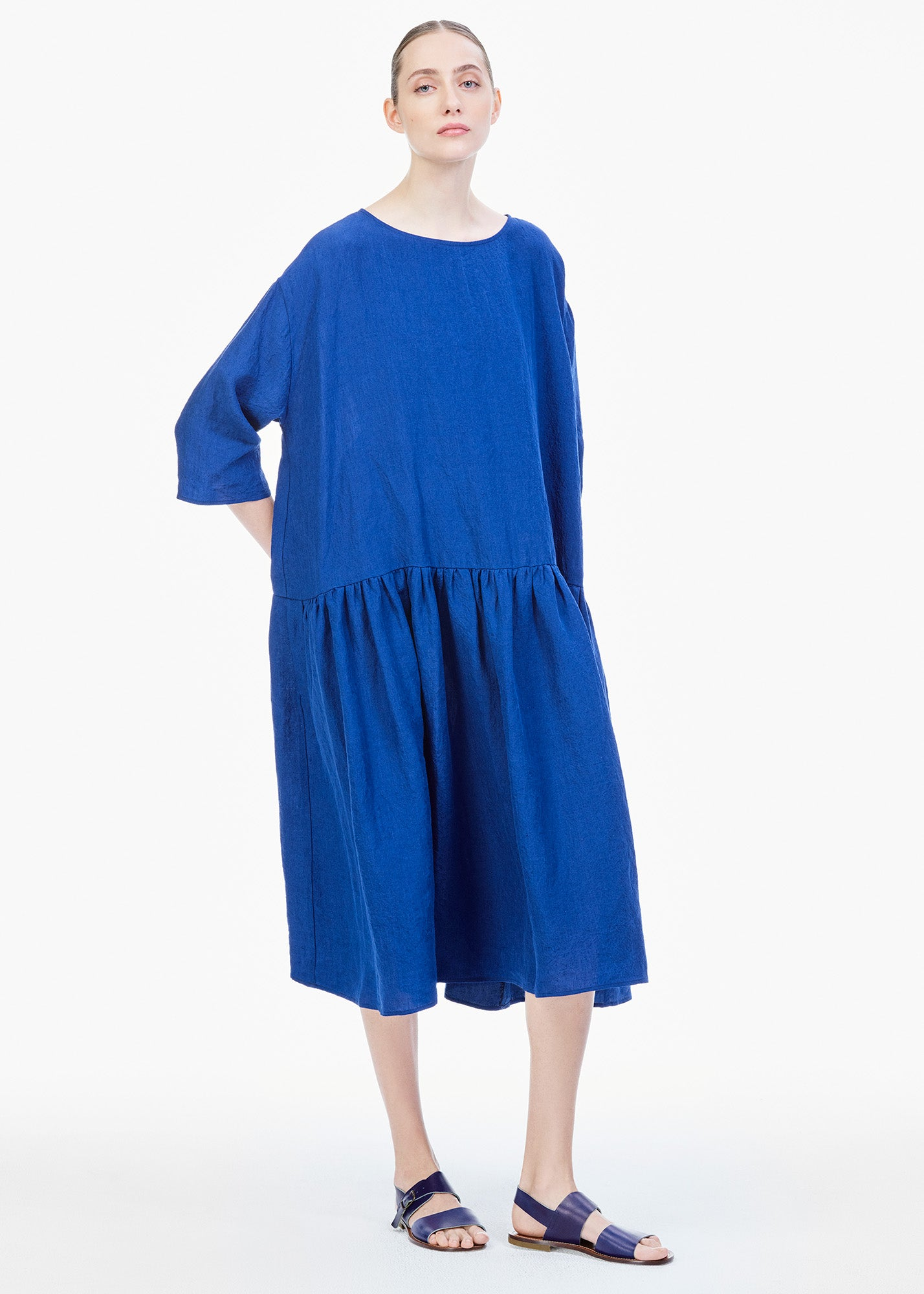 Linen Dress Electric Blue