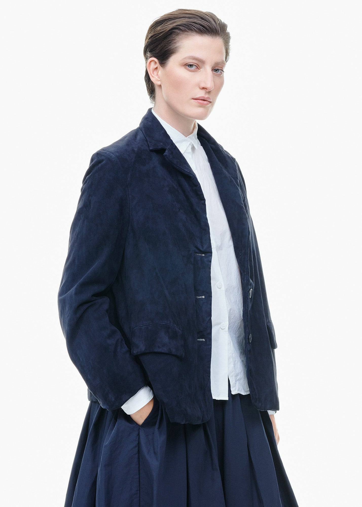 Suede Farmer Jacket Navy