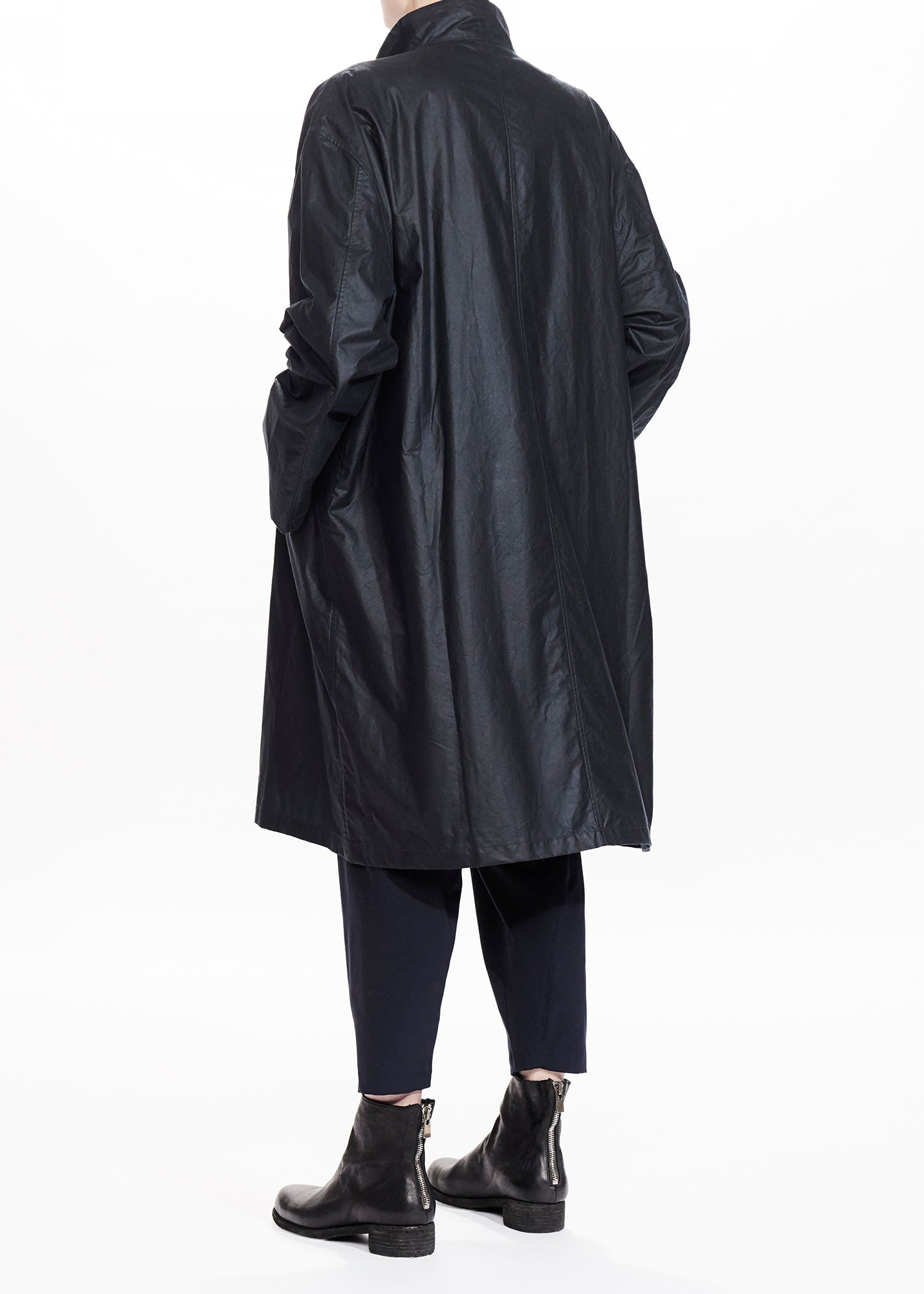 Oversized Waxed Cotton Coat Navy