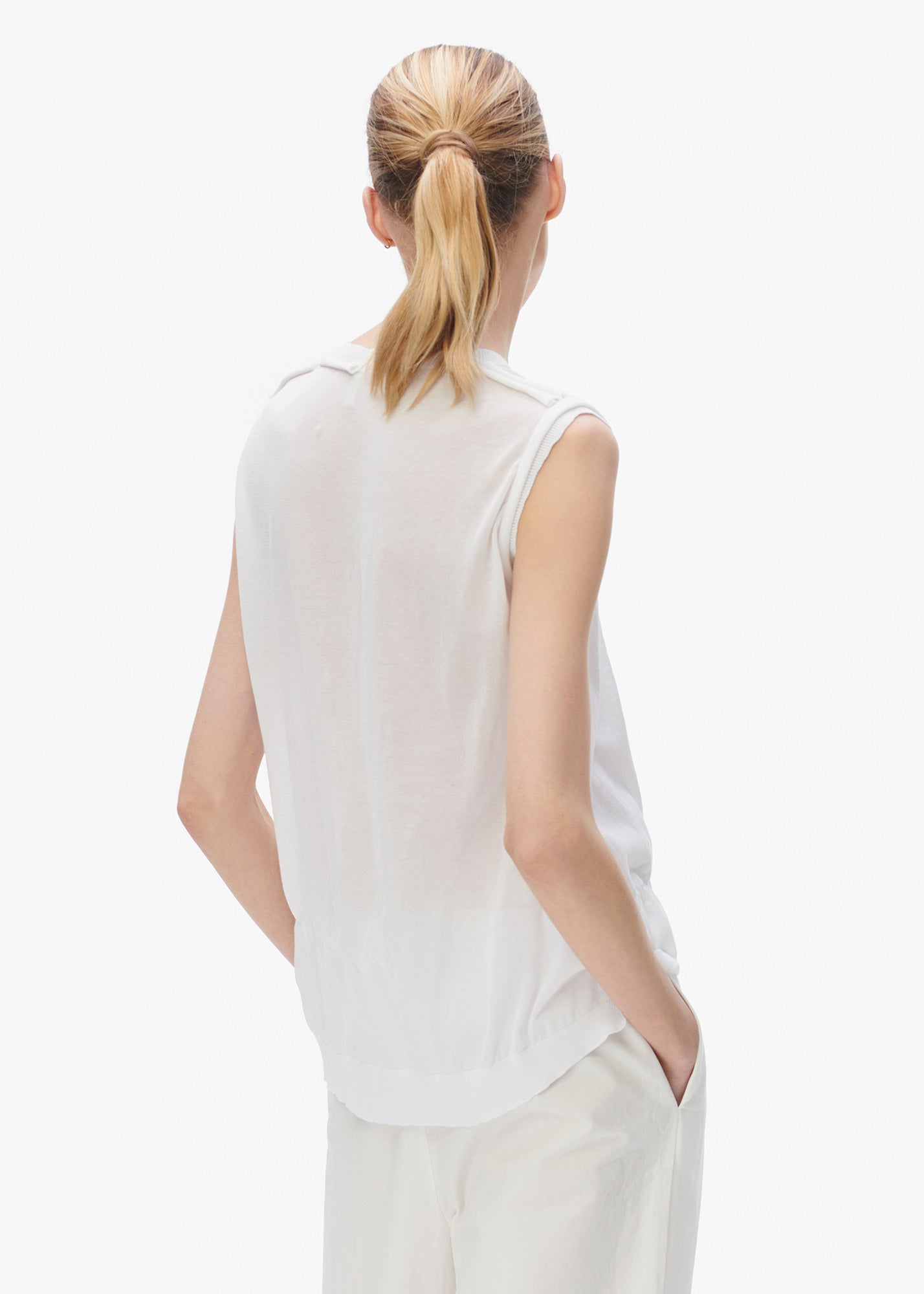 Gathered Sleeveless Sweater White