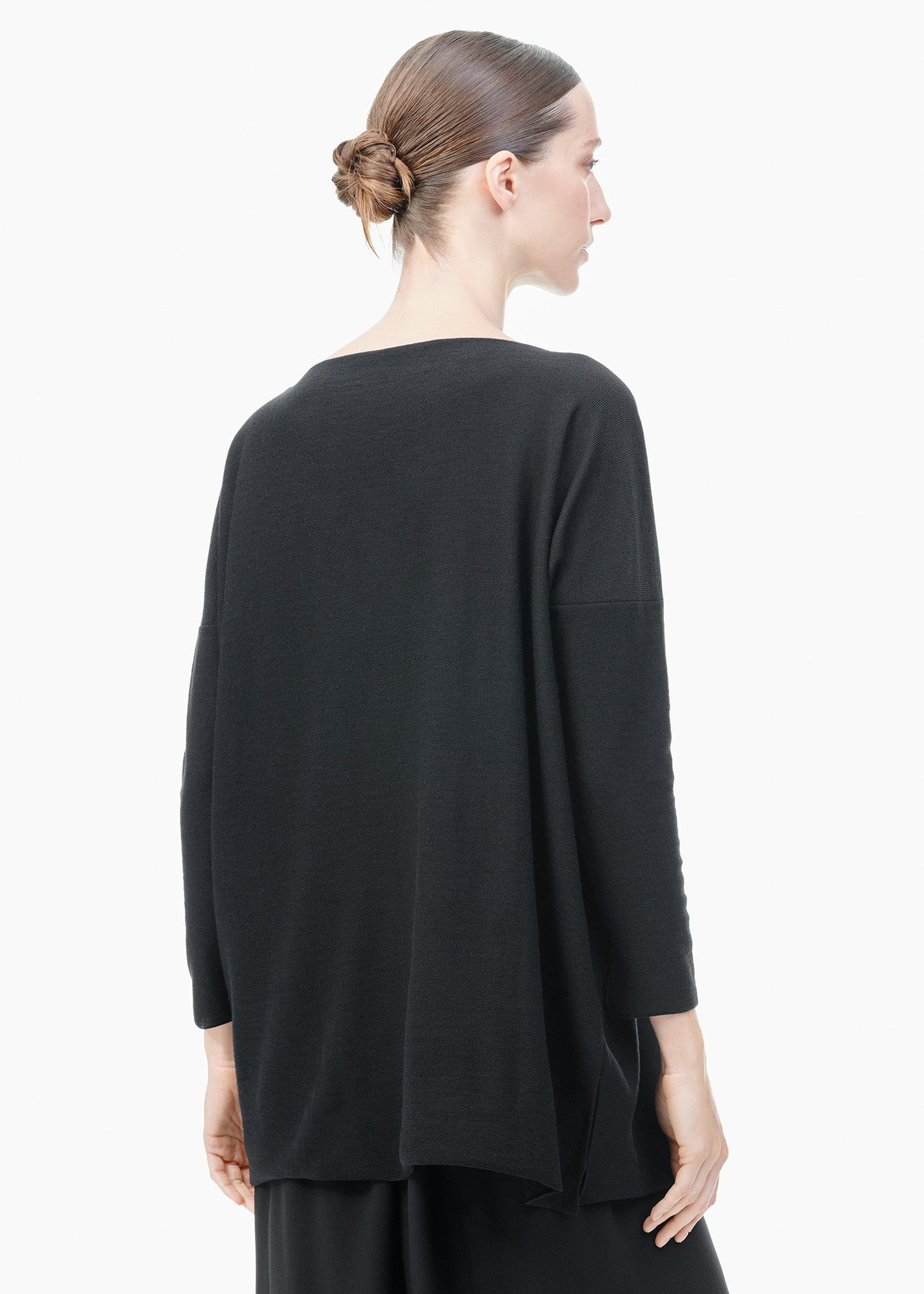 Boatneck Wool Long Sweater