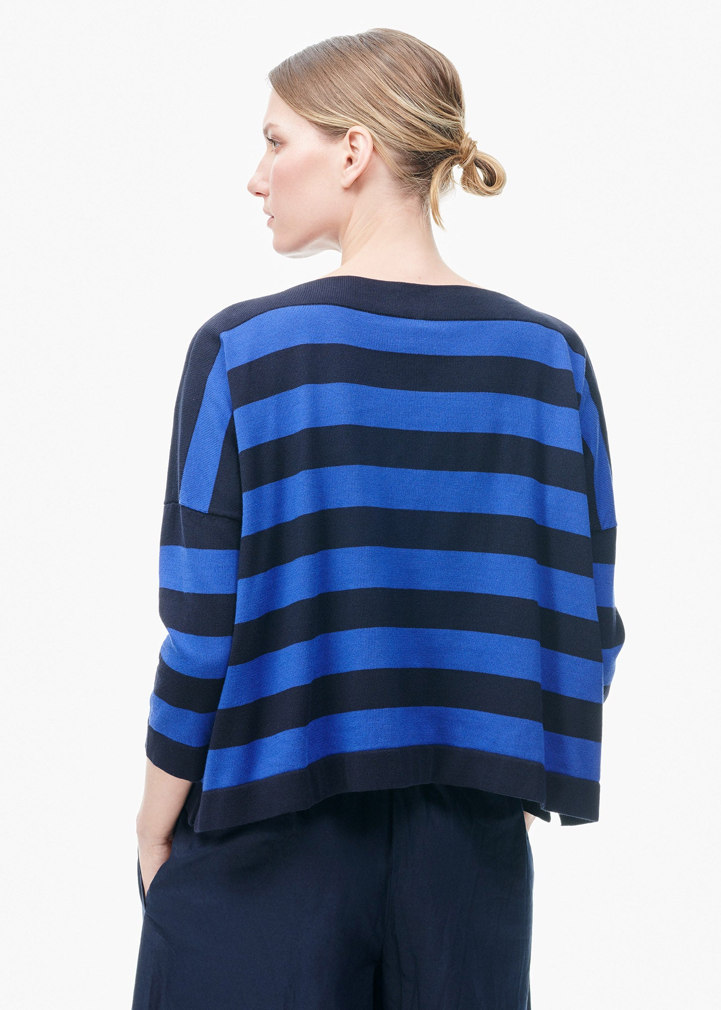 Boatneck Sweater Electric Blue/ Navy Stripe