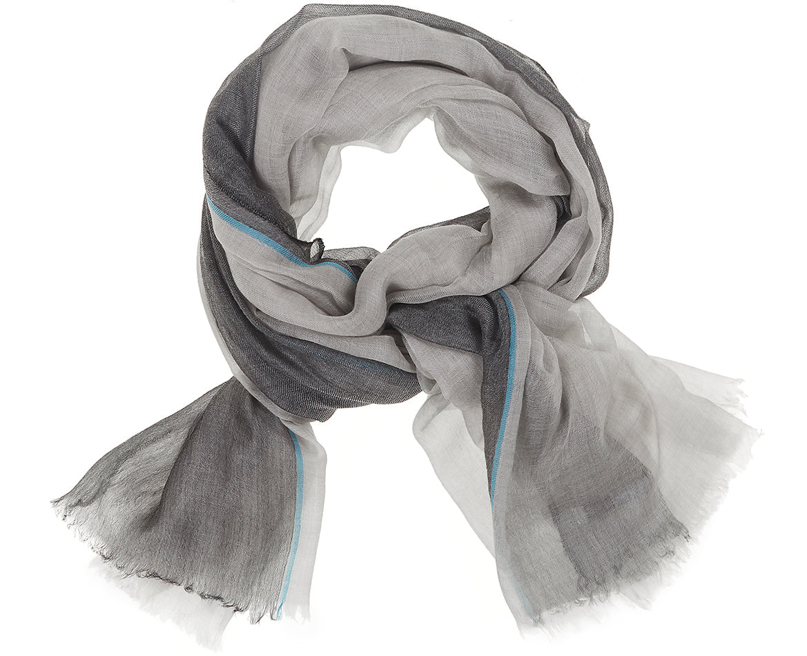 Feather Toosh Shawl Light Grey Stripe