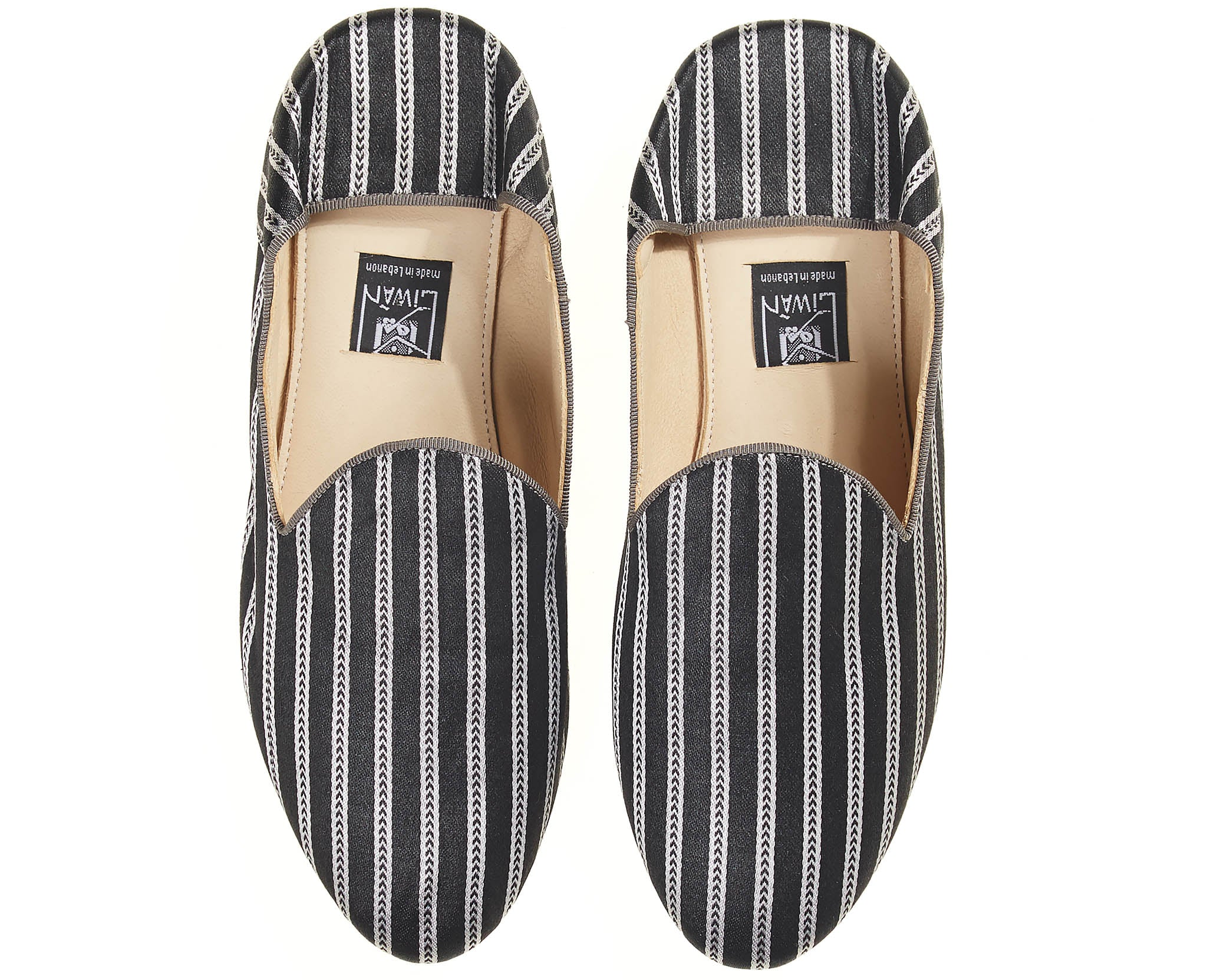 Satin Slippers Black/Silver Stripe