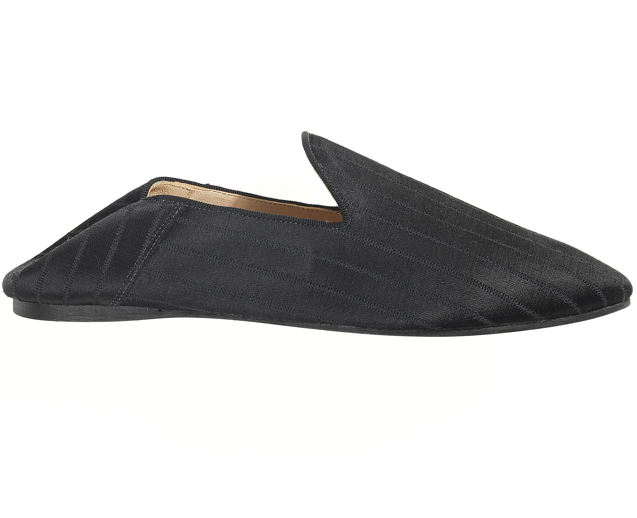 Satin Slippers Black Stripe
