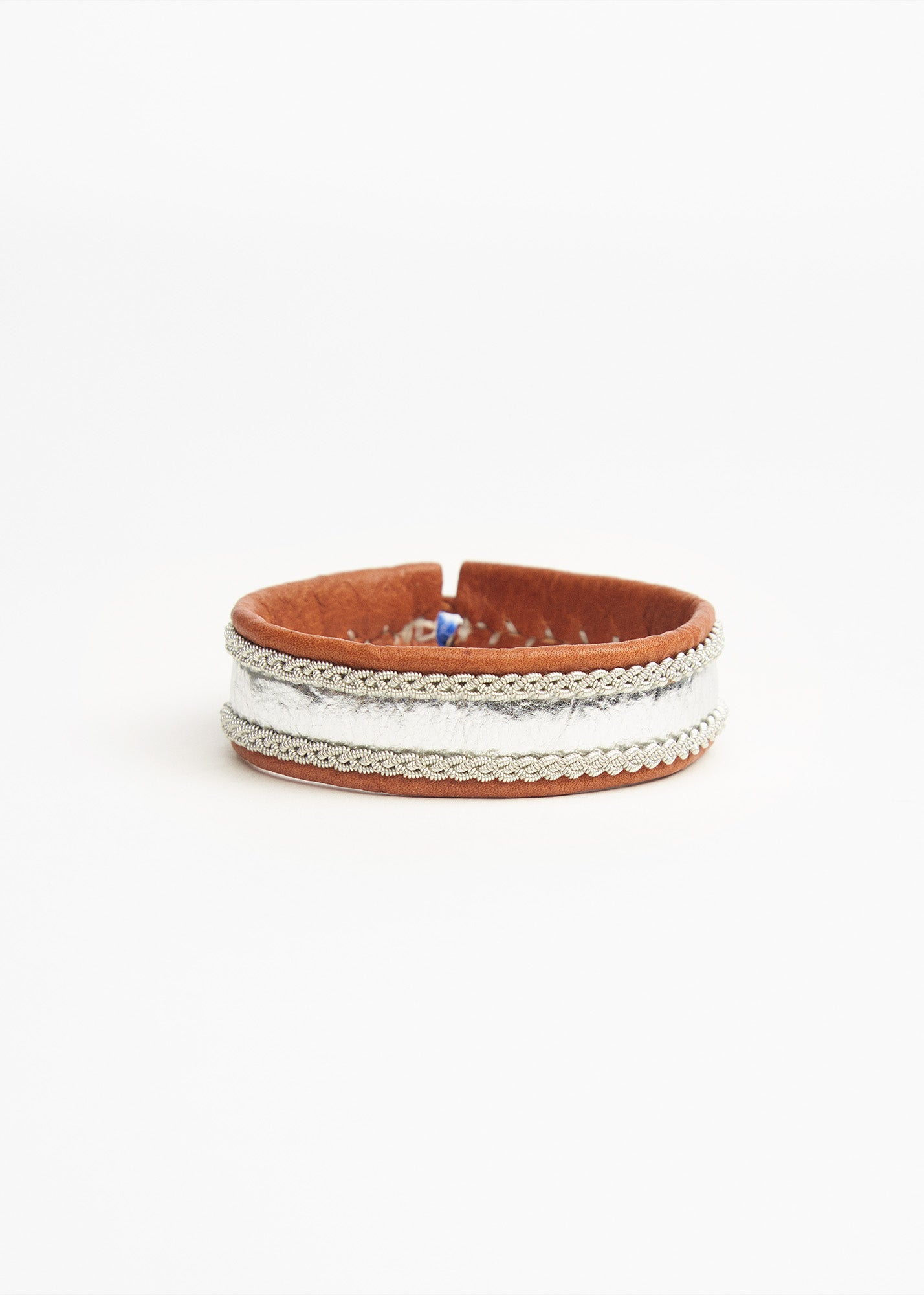 Leather Bracelet Tan/ Silver