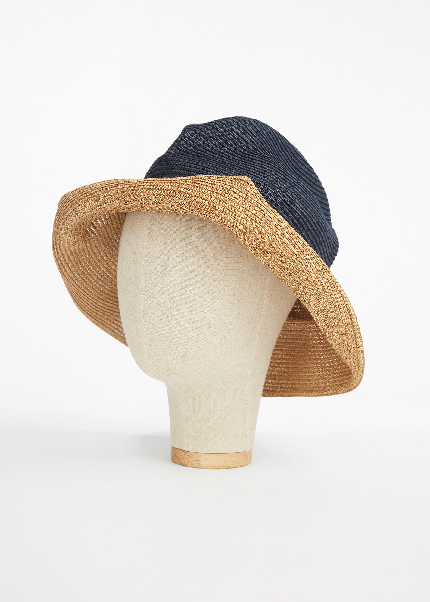 Boxed Hat Navy/ Brown
