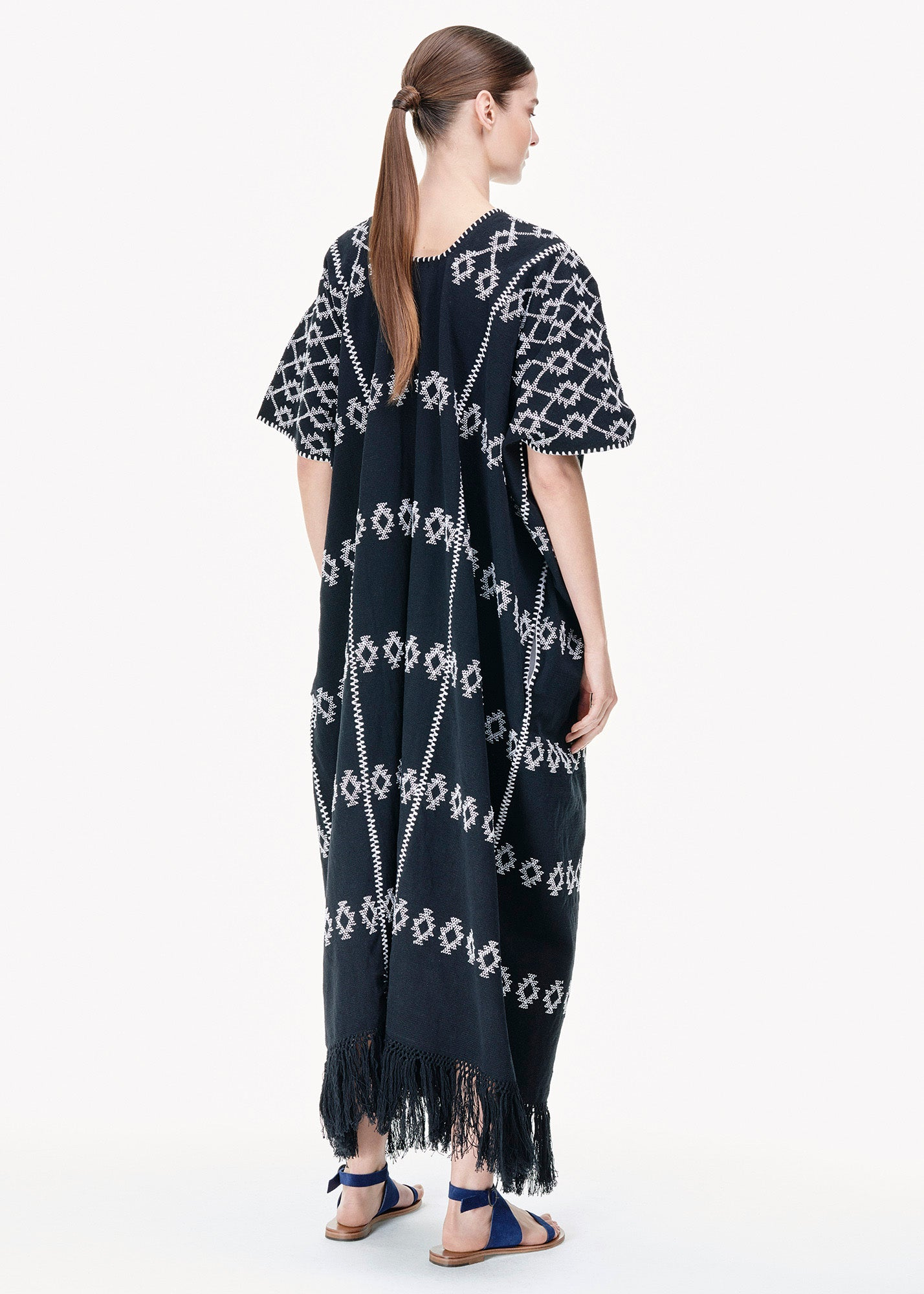 Three Panel Maxi Kaftan in Black/ White