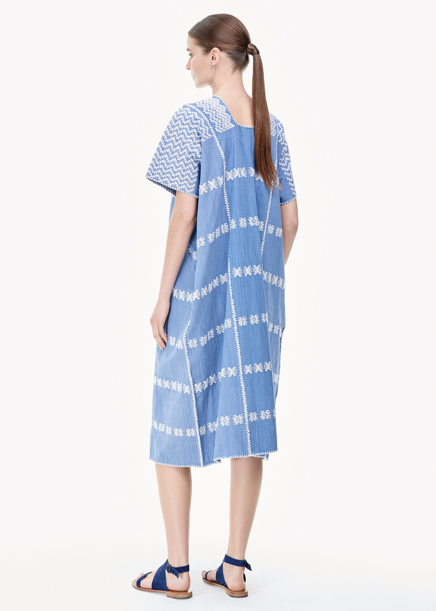 Three Panel Midi Kaftan in Denim/ White