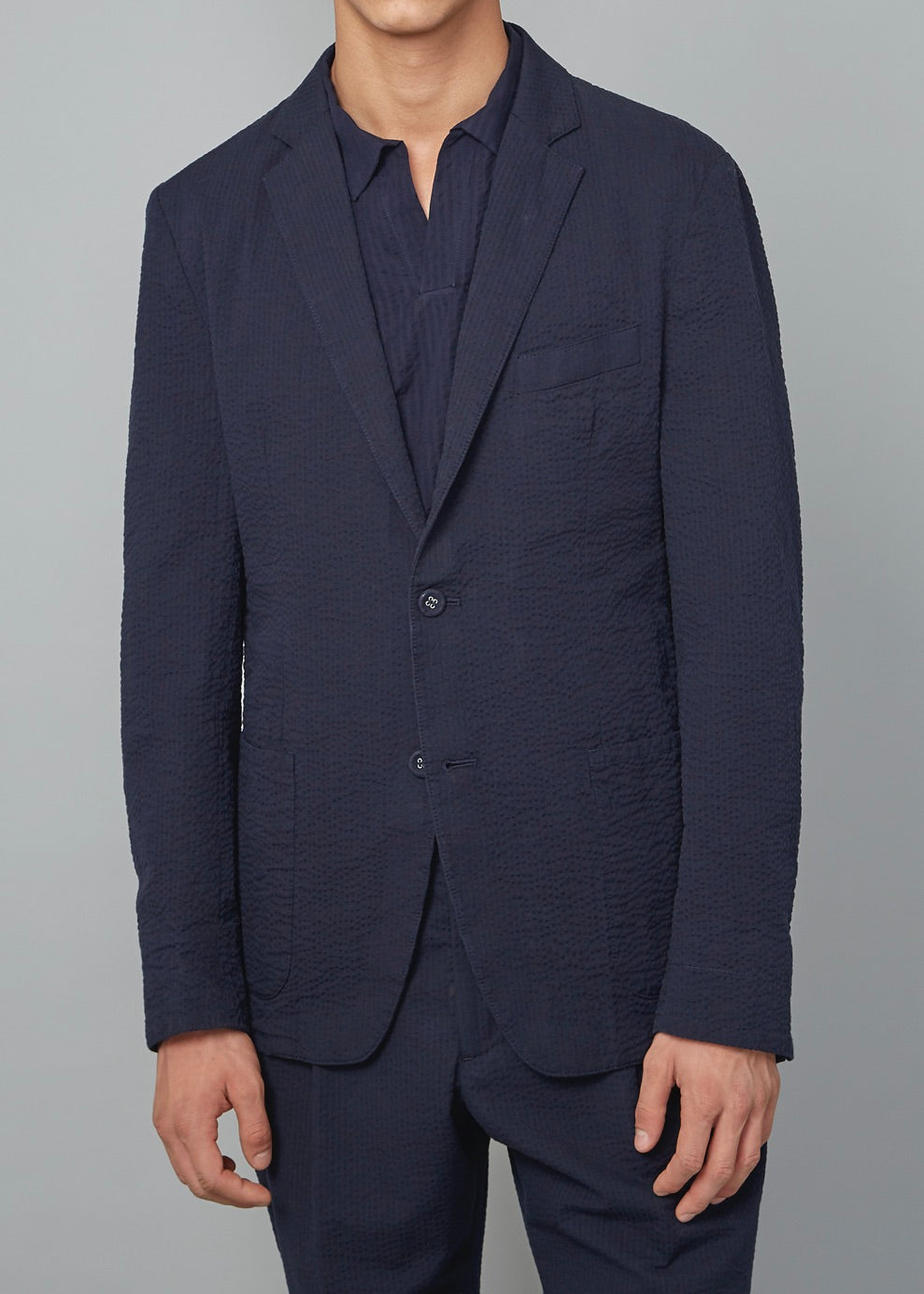 Lightest Seersucker Jacket Navy