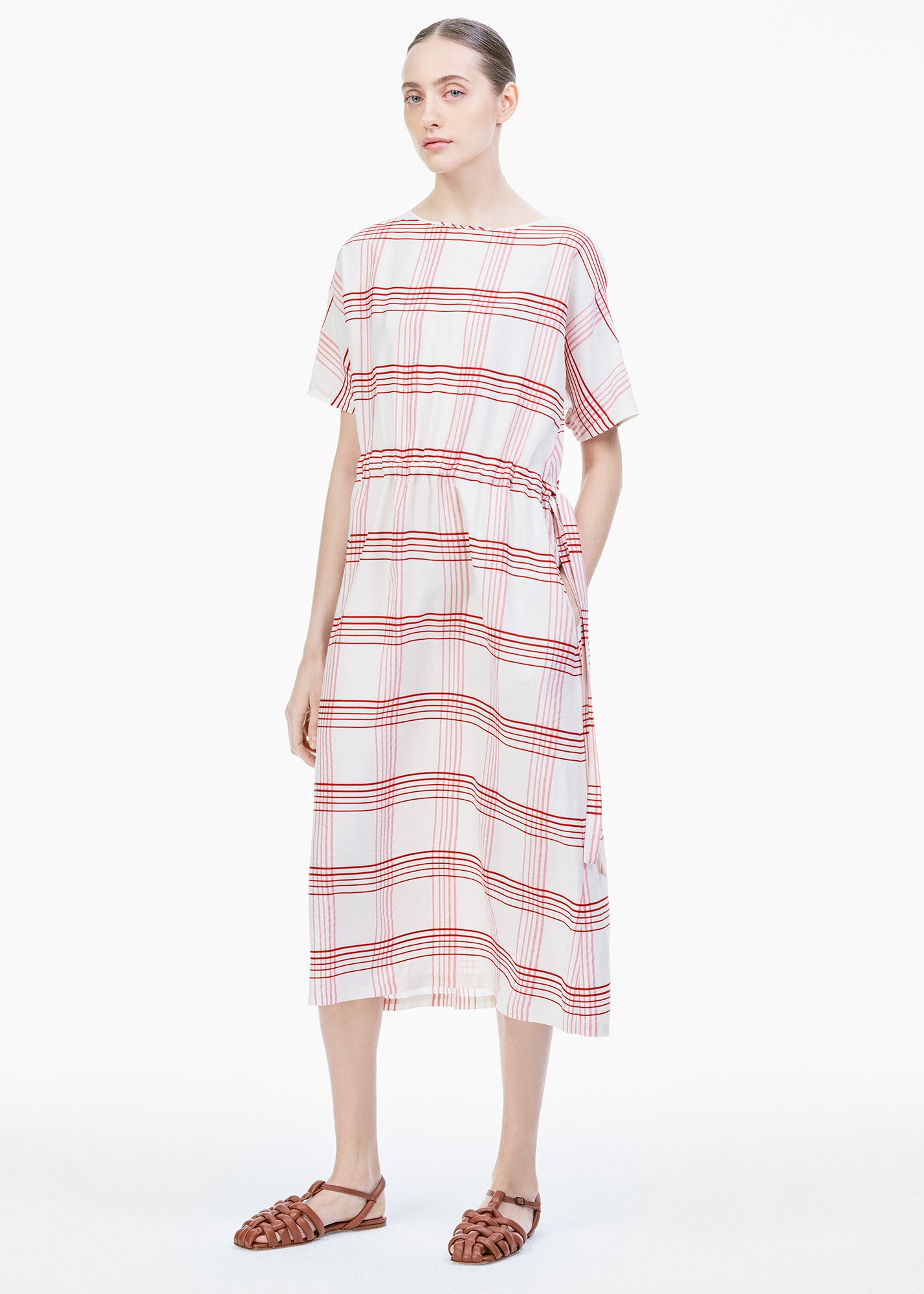 Boatneck Dress Ecru/ Red Check
