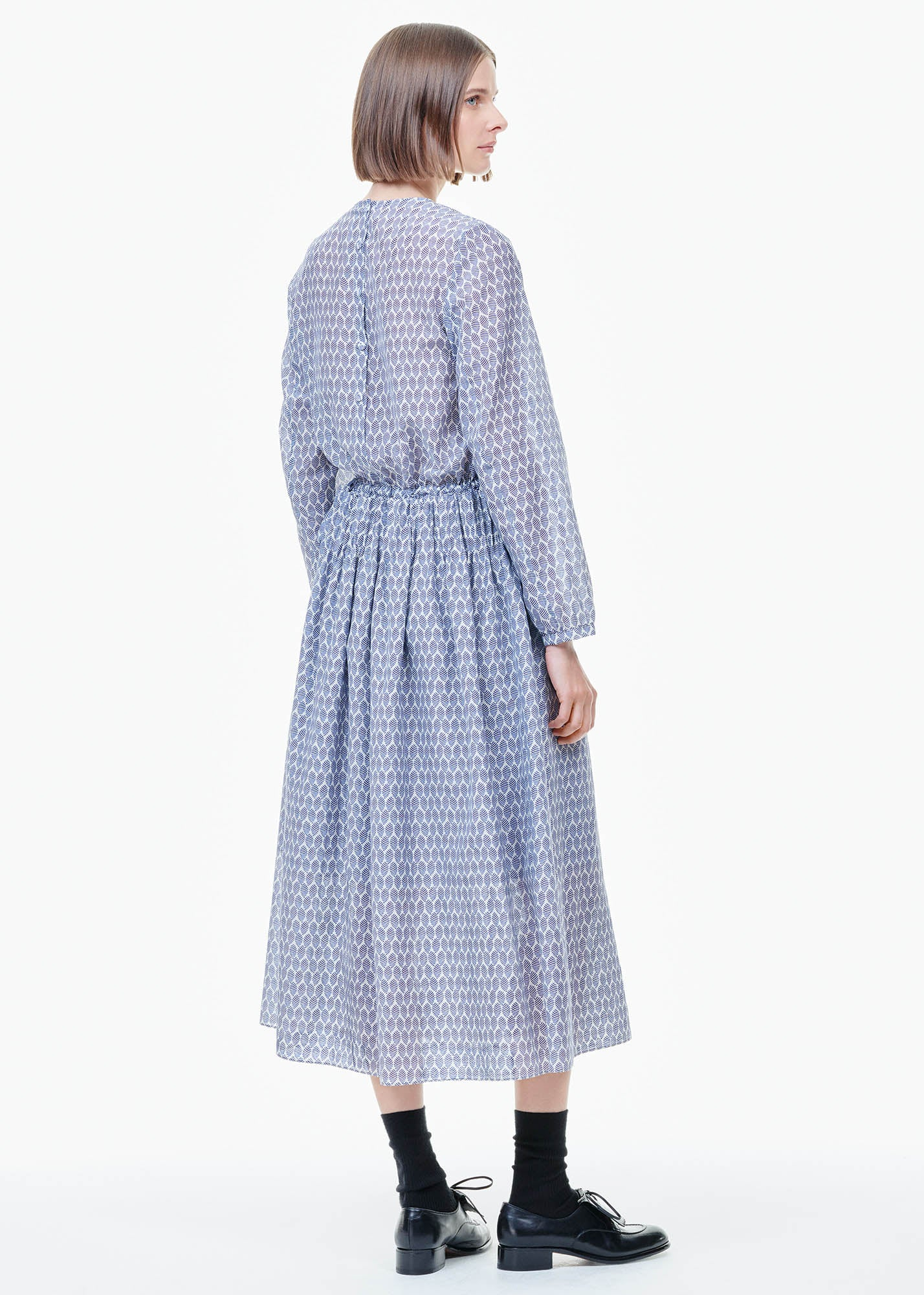 Pleated Dress Blue Print