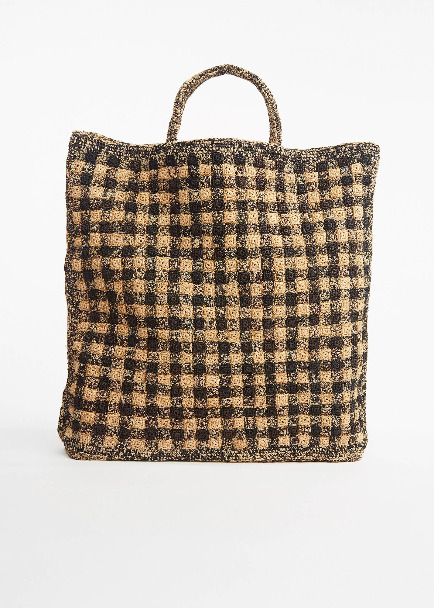 Large Raphia Tote Bag Natural / Black Check