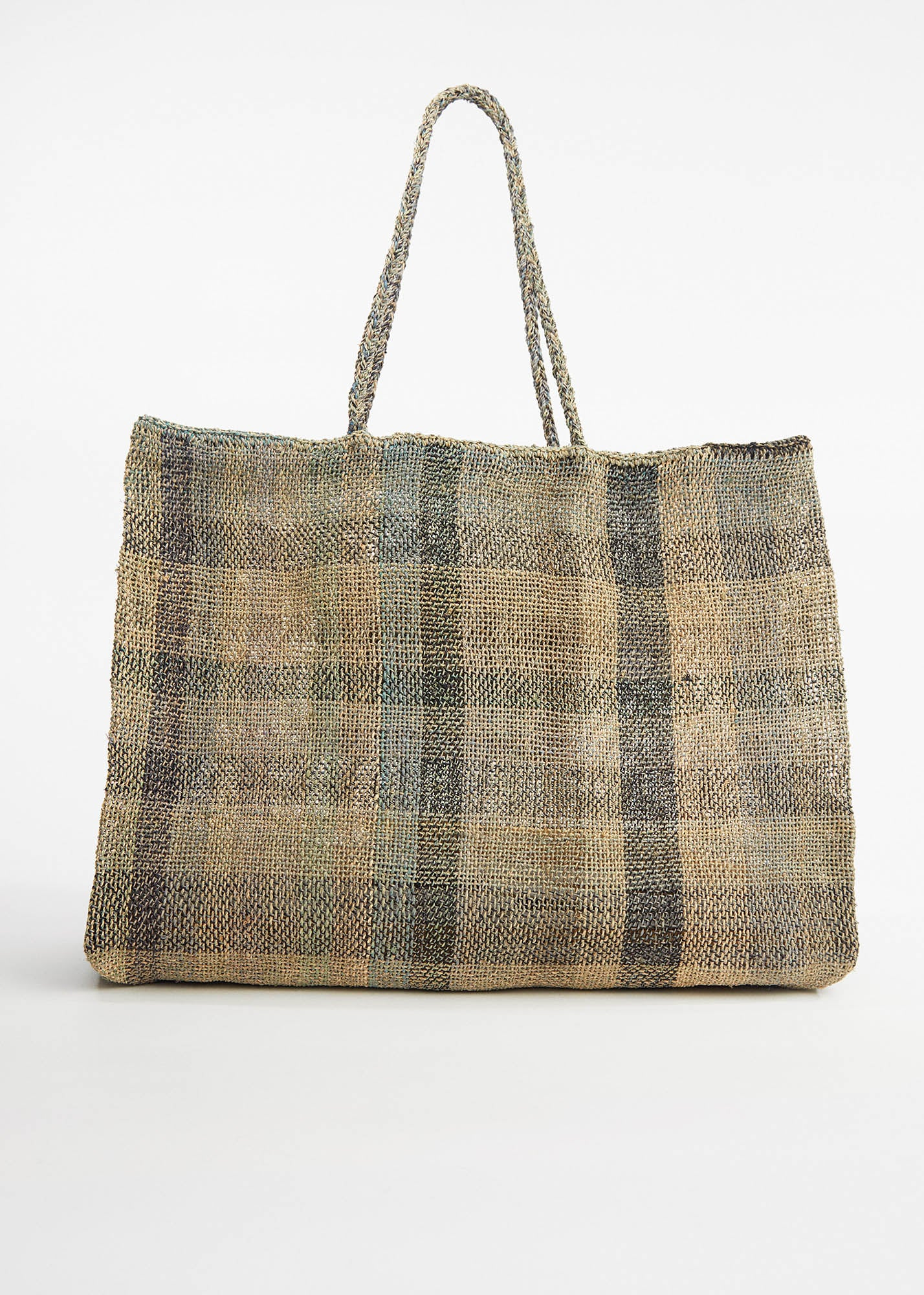 Large Woven Raphia Bag North Dark